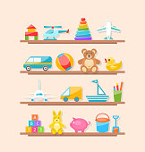 Illustration Set of Colorful Children Toys on Shelf. Cartoon Baby Joys - Vector