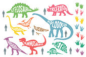 Set of colorful dinosaurs with lettering and footprints, isolated on wite background. Size of dinosaurs vs man size. Vector illustration.