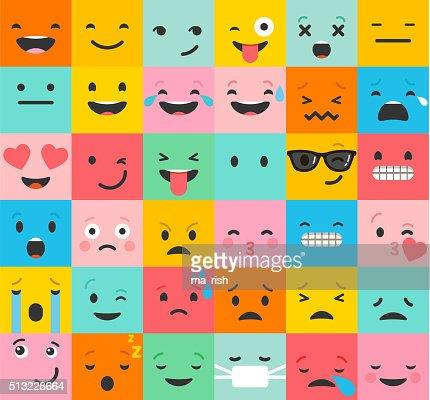 Conjunto de colorido emoticonos, Emoji Fondo plana patrón : Arte vectorial