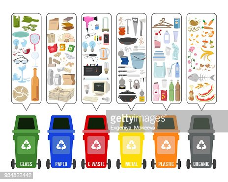 Set of colorful garbage cans with sorted garbage on white background. Ecology and recycle concept. Vector Illustration. : stock vector