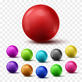 Set of colorful glossy spheres isolated on transparent background. Vector bright balls.