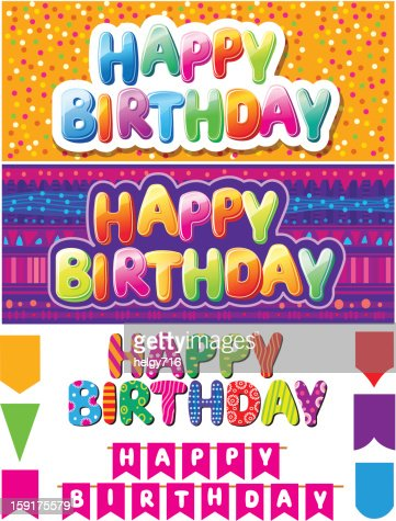 Set of colorful happy birthday texts : Vector Art
