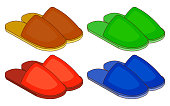 Set of colorful house slippers. Flat design vector illustration EPS10