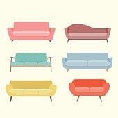 Set of colorful retro sofa. Furniture for an interior, living room. Vector flat illustration