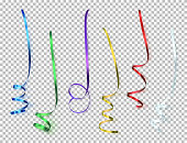 Set of colorful ribbons on transparent background. Decoration elements for your projects. Vector illustration.