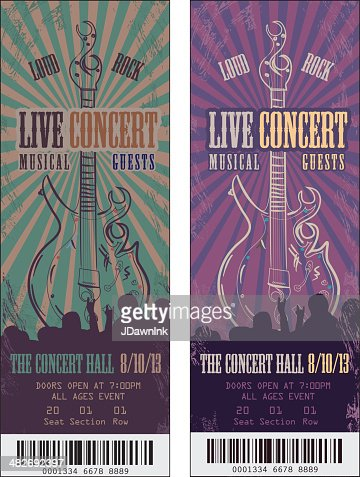 Set of colorful rock n roll concert tickets template for Concert press release template