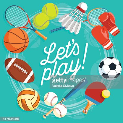 Set of colorful sport balls and gaming items at a turquoise background. Balls for rugby, volleyball, basketball, football, baseball, tennis and badminton shuttlecock. Healthy lifestyle tools, elements. Vector Illustration. : Vector Art