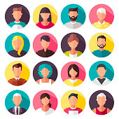Set of colorful vector icons. people