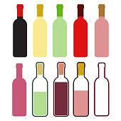Set of colorful wine bottles on white, stock vector illustration