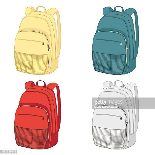 Set of colourful backpacks with zippers and pockets