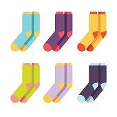 Set of colourful socks. Vector flat illustration isolated on white background.