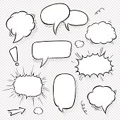 Set of comic speech bubbles and elements with halftone shadows. Cartoon style. Vector illustration in black and white.