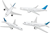 A set of commercial airplane illustration