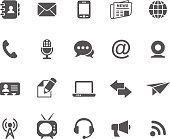 Communication icons isolated on white background. All icons separated in layers.