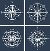 Set of compass roses or windroses. Vector illustration.