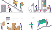 Set of Concepts for Transport company isolated on white background. Moving truck with movers carring a sofa and cardboard boxes. Moving House and office. Vector illustration