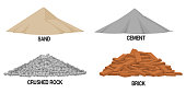 Set of construction material ( sand ,cement,crushed rock, brick) on transparent background