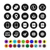 Set of contact icons. Flat design. Vector illustration. Isolated on white background