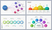 Set of contemporary infographic designs, concepts, templates with six options. Vector illustration.