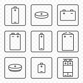 Set of contour battery icons. Vector on transparent background. Each icon in a separate frame