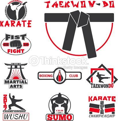 Set of cool fighting club emblems labels fight badges punch sport fist karate vector illustration