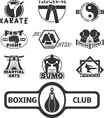 Set of cool fighting club emblems, labels, fight badges, s. Martial training champion graphic style. Punch sport fist karate vintage symbol vector illustration.