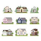 Set of colorful cottage houses isolated on white background. Flat Design Urban Landscape. Modern building architecture icon. Vector Illustration.