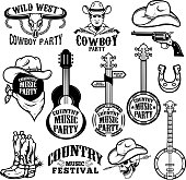 Set of country music festival emblems and design elements. Cowboy party. Vector illustration