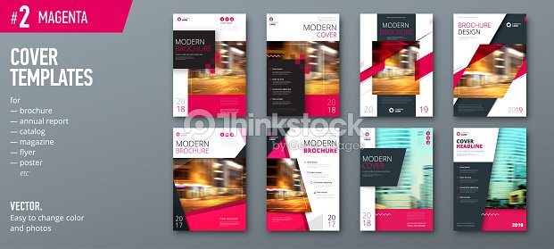 Set Of Cover Design Template For Brochure Report Catalog Magazine Or