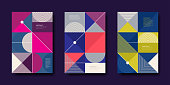 Set of cover design with simple abstract geometric shapes. Vector illustration template. Universal abstract design for covers, flyers, banners, greeting card, booklet and brochure.