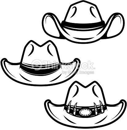 Set of cowboy hats isolated on white background. Design element for label 96deb3fcefa9