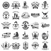 Set of Craft Beer and Winery company badge, sign or label. Vector illustration. Vintage design for winery company, bar, pub, shop, branding and restaurant business. Coaster for beer, wine glasses
