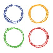 Wax crayon or pencil red, green, blue, yellow circle frames background. Vector