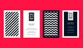 Set of creative B&W Business Card Layouts with geometric elements. Vector graphic.