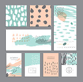 Set of creative cards. Hand Drawn textures made with ink. Wedding, anniversary, birthday, Valentin's day, party invitations. Vector. Isolated.