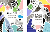 Set of creative Social Media Sale headers or banners with discount offer. Design for seasonal  clearance. It can be used in advertising, web design, graphic design. Vector illustration.