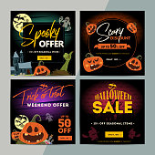 Set of creative social media sale web banners design for online shop or store. Trendy vector ad offer or clearance on Happy Halloween holiday.