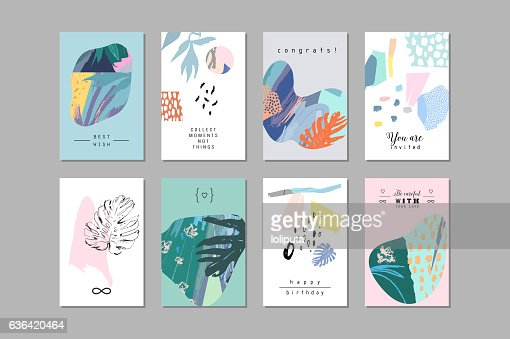Set of creative universal floral cards in tropical style. : Vector Art