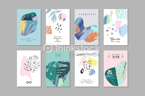 Set of creative universal floral cards in tropical style. : stock vector