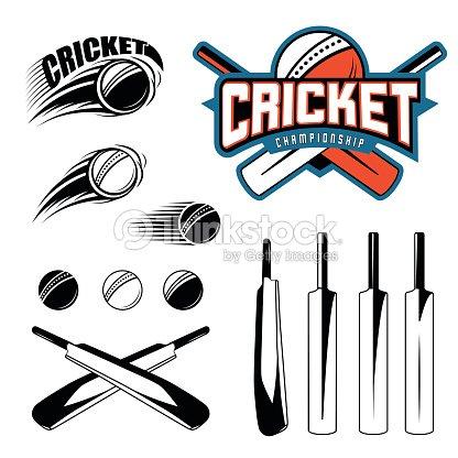 set of cricket sports template logo elements ball bat ベクトルアート