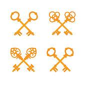 Set of crossed old vintage golden keys. Vector flat illustration