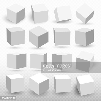 A set of cube icons with a perspective 3d cube model with a shadow. Vector illustration. Isolated on a transparent background : stock vector
