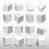 A set of cube icons with a perspective 3d cube model with a shadow. Vector illustration. Isolated on a transparent background