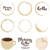 Set of cup stains. Morning coffee. Vector design elements.