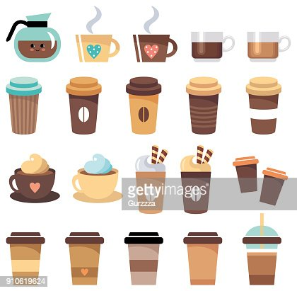 Set of cups and glasses with coffee : stock vector