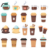 Set of cups and glasses with coffee. Vector illustration