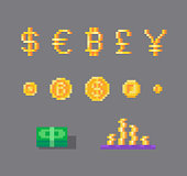 Pixel art set of currency symbols and coins.