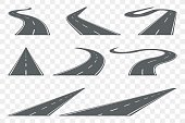 Set of curved asphalt road in perspective. Highway icons. Vector illustration.
