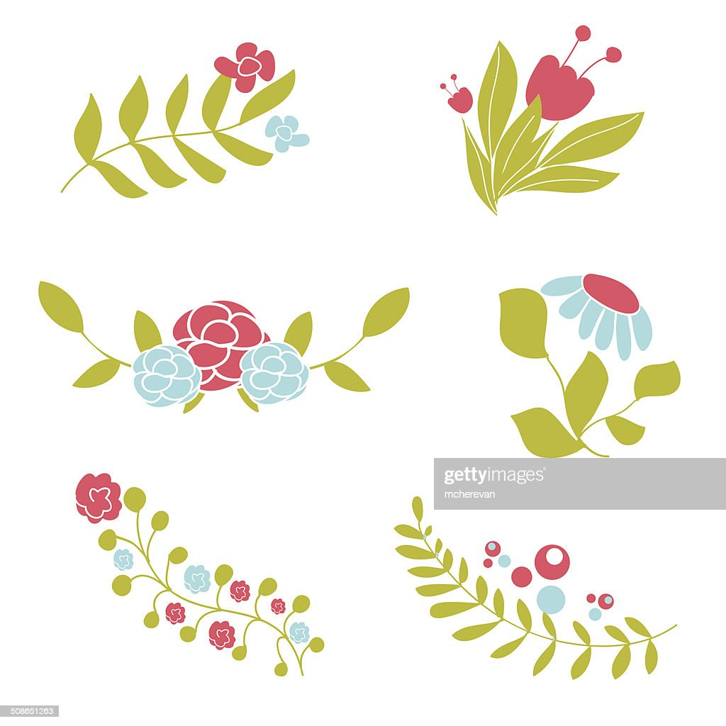 Set of cute abstract floral bouquets and wreaths. : Vector Art
