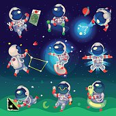 Set of cute astronauts in space, working and having fun. EPS 10. Isolated images.
